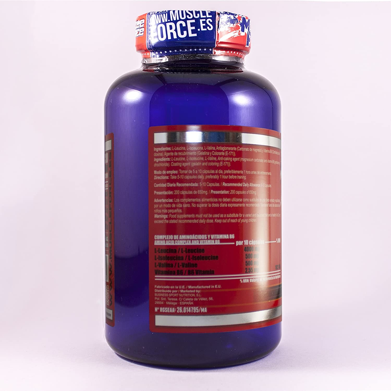 Muscle Force Bcaa Capsule, Aminoácidos Esenciales - 200 Capsulas: Amazon.es: Salud y cuidado personal
