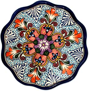 NOVICA Orange and Blue Painted Floral Talavera Ceramic Serving Plate, Wilderness'