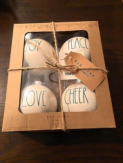 Amazon Com Rae Dunn Christmas Ornaments Joy Peace Love Cheer Home