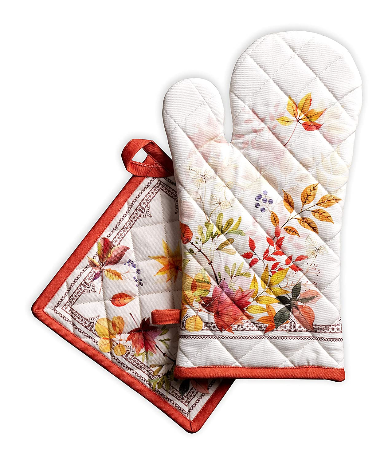Maison d' Hermine Amarante 100% Cotton Set of Oven Mitt (7.5 Inch by 13 Inch) and Pot Holder (8 Inch by 8 Inch). Perfect for Thanksgiving and Christmas