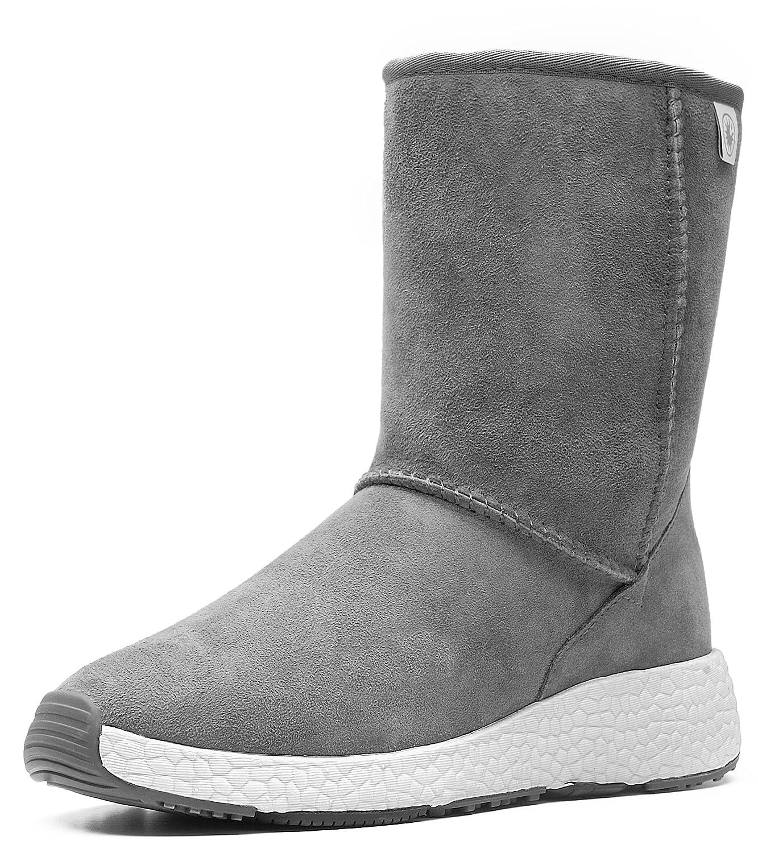 AU&MU Women's Full Fur Sheepskin Suede Winter Snow Boots B074TGF44K 7.5 B(M) US|Grey 6