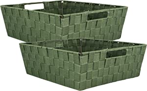 """DII 5893 Durable Trapezoid Woven Nylon Storage Bin or Basket for Organizing Your Home, Office, or Closets (Tray - 13x15x5"""") Olive Green - Set of 2"""