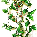 Rain forest Artificial Plant Vines (Combo Pack -Rain forest Green Vine 8Ft x 1 + Essence Red and Hydra Green Vine 5. 5Ft x 1) for Living Room