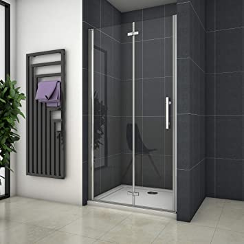 Mampara de ducha Apertura de Puerta Plegable Antical 110x195cm ...