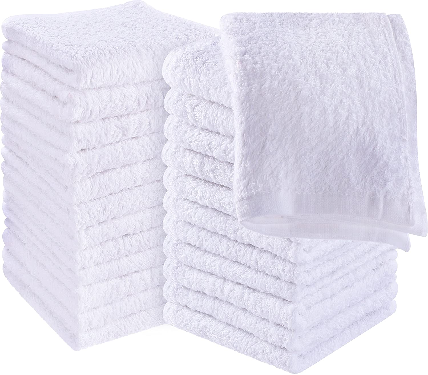 Utopia Towels Cotton Washcloths, 24 - Pack, White UT24WASHCLOTHWHITE