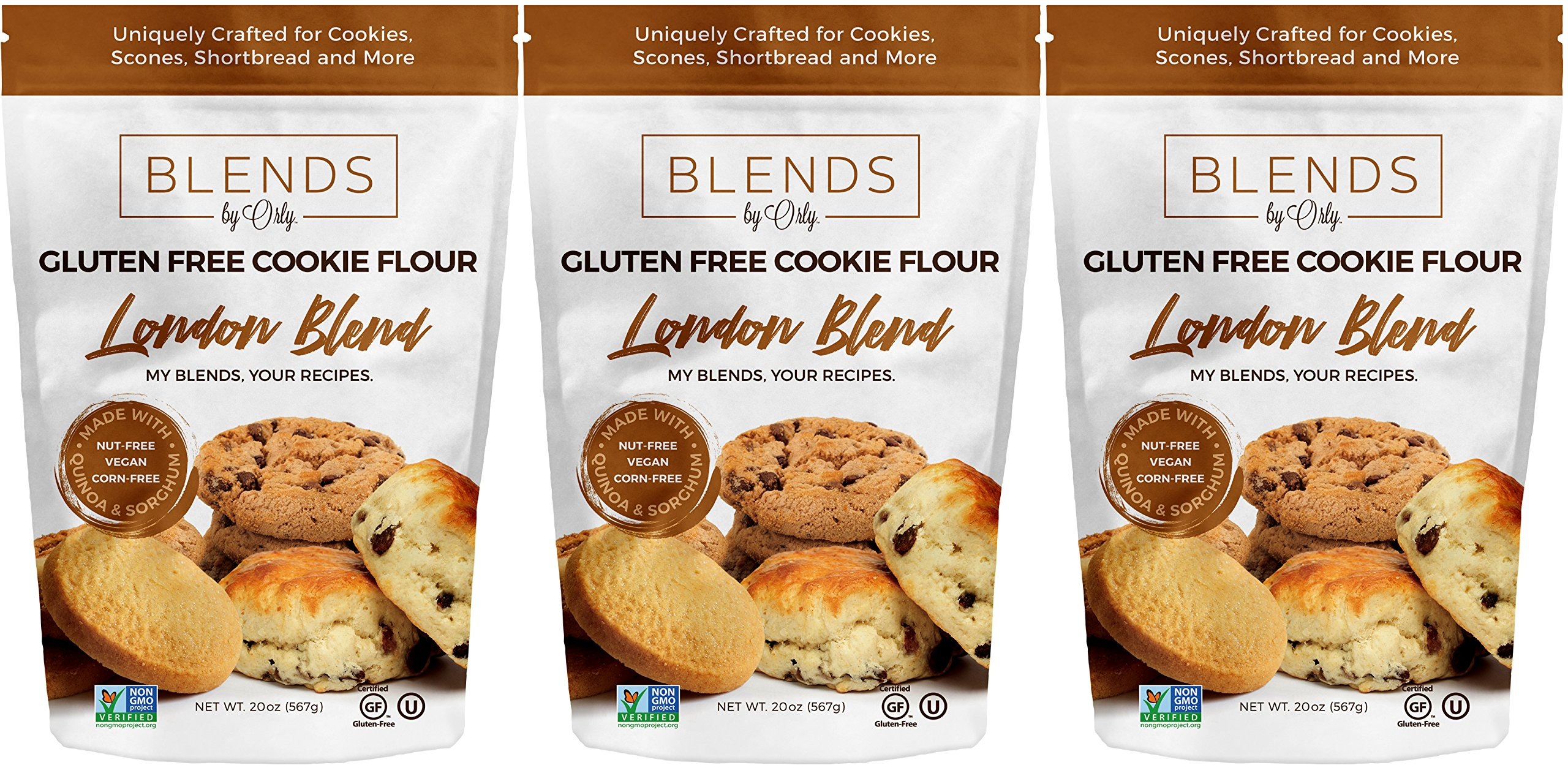 Gluten Free Cookies Flour | Gluten Free Oatmeal Raisin Cookies - Baking Flour for Gluten Free Biscuits, Chocolate Chip Cookies, Butter Cookies & Blondies from London Blends by Orly 60 OZ (Pack of 3) by Blends By Orly
