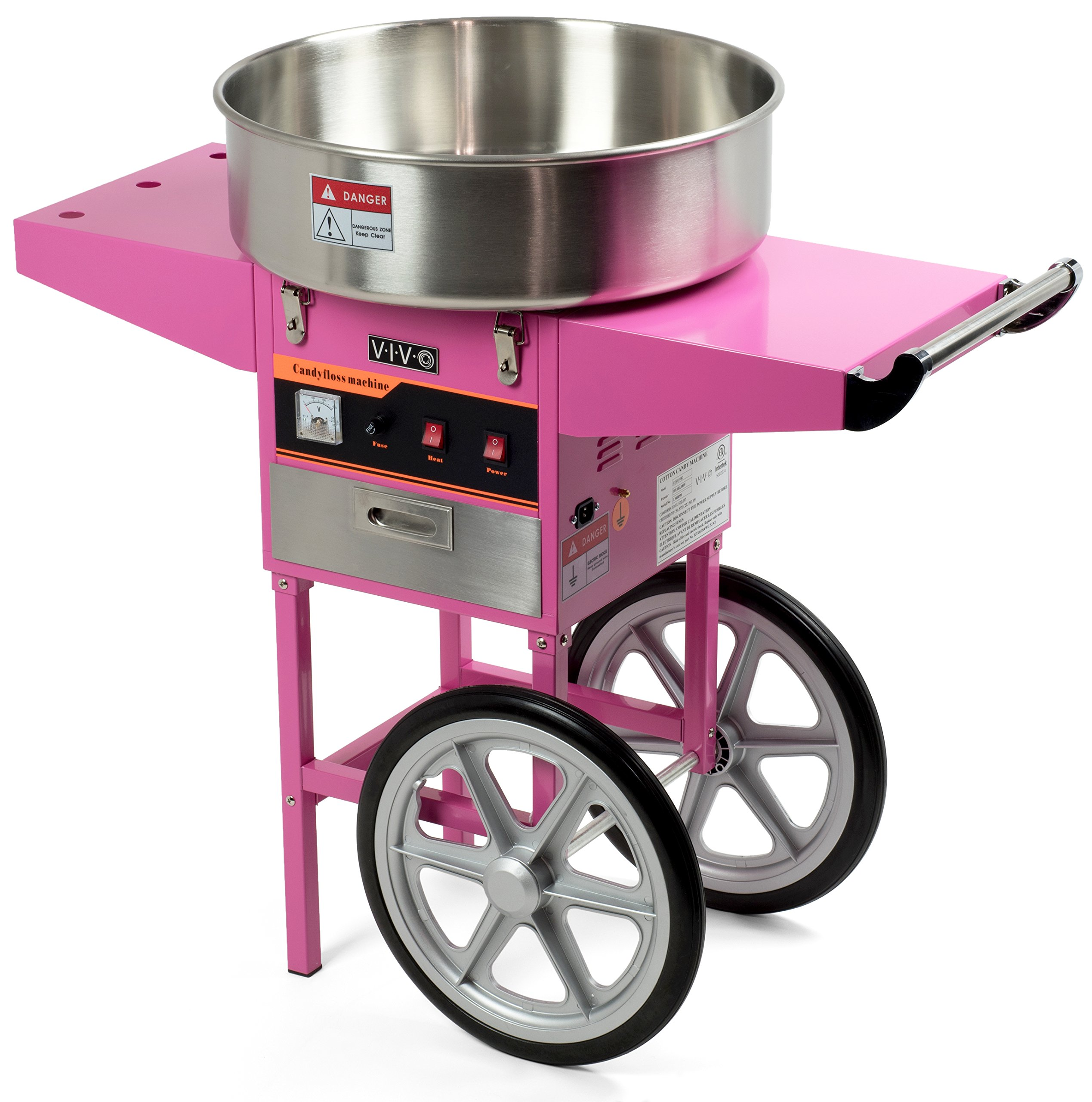 Electric Commercial Cotton Candy Machine / Candy Floss Maker Pink Cart Stand VIVO (CANDY-V002)