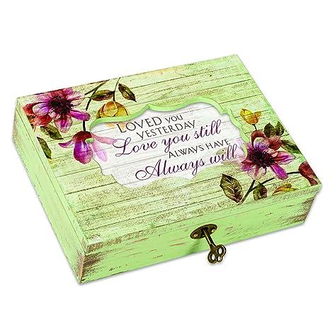 Cottage Garden Love You Still Always Will Floral Decoupage - Caja de música con texto en