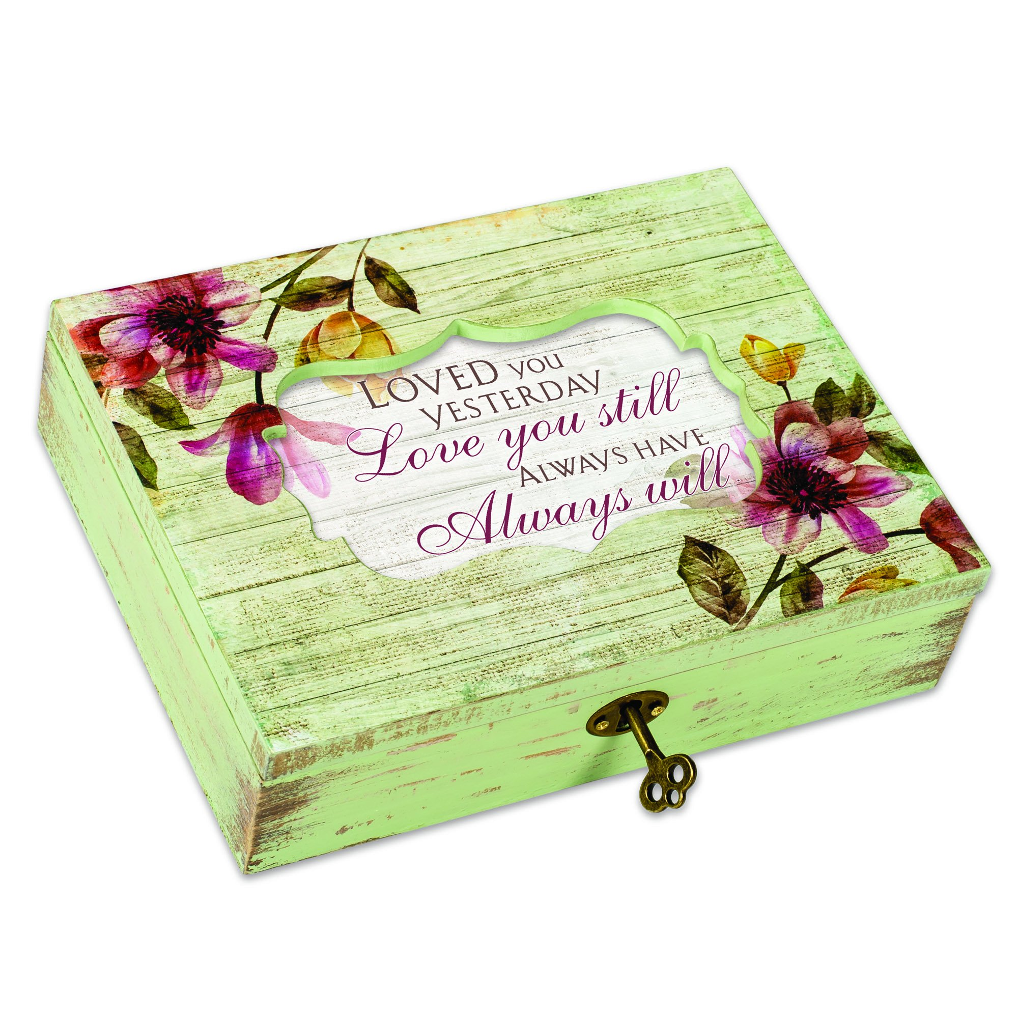 Cottage Garden Love You Still Always Will Floral Decoupage Music Box Plays You Light Up My Life