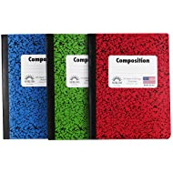 Norcom Wide Ruled 100 Sheet Composition Notebooks ~ Pack of 3 (Red ~ Blue ~ Green)