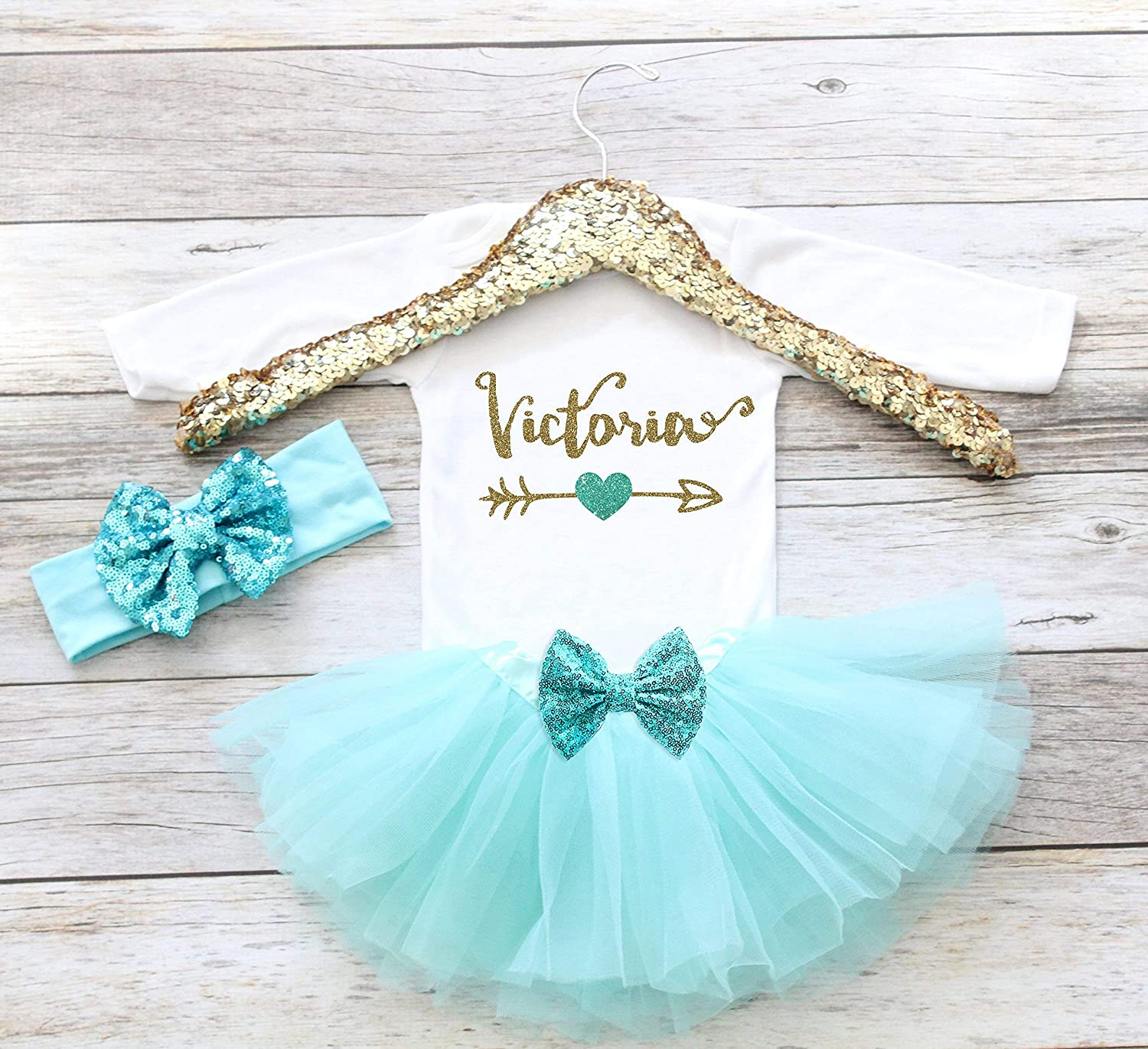 85e2b1558 Amazon.com: Personalized Coming Home Outfit Baby Girl Clothes Take Home  Outfit Personalized Name Shirt Baby Girl Shirt Personalized Baby Shower  Gift: ...