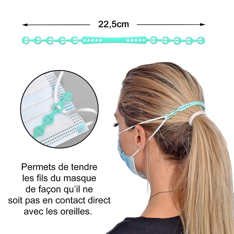 Confortable et Ajustable en Silicone 4 Extensions de Sangle de Masque Facial antid/érapant KOKSS Attache Masque Utilisations multiples Permet de Soulager les Oreilles et le Visage