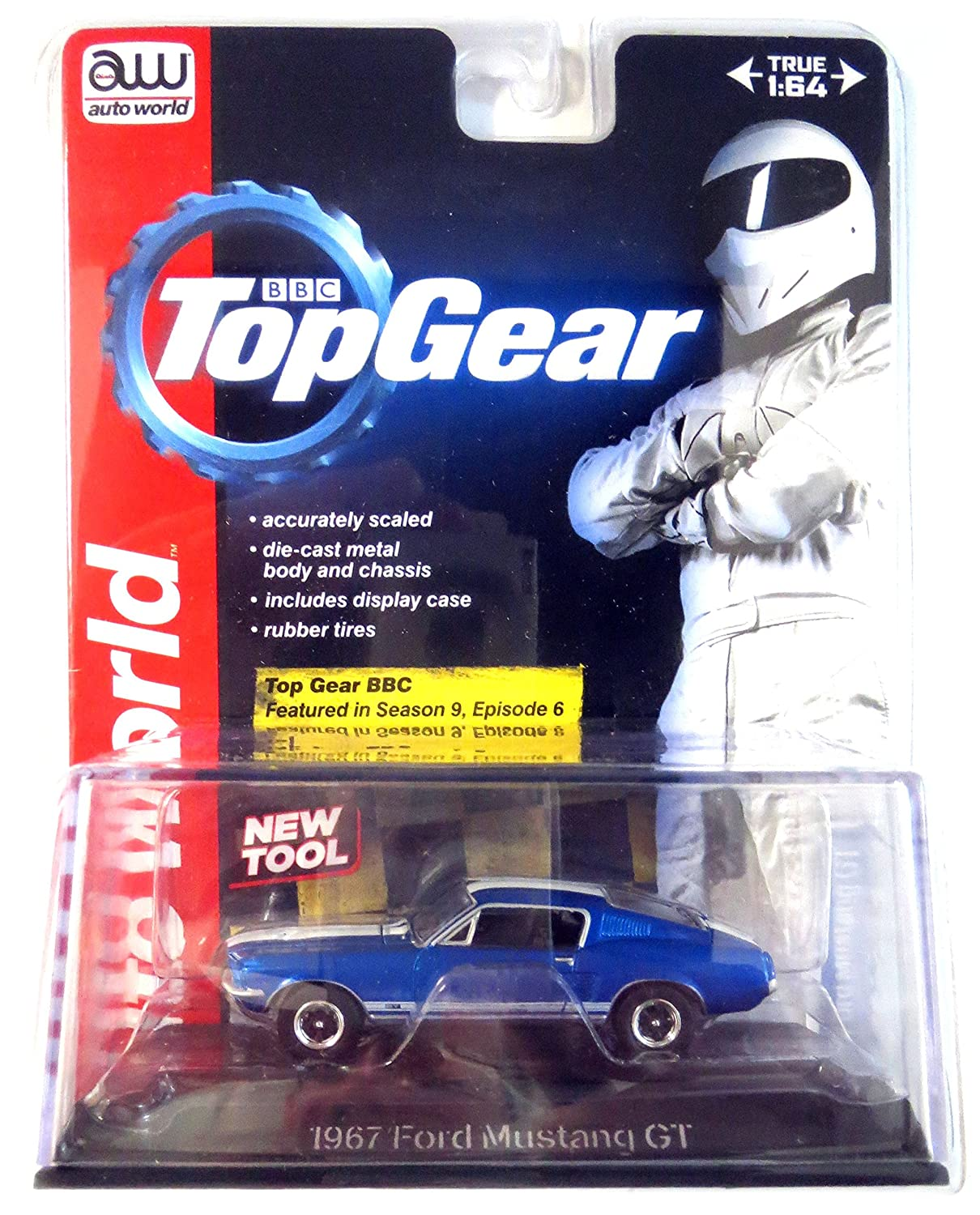 AUTO WORLD LICENSED PREMIUM BBC TOP GEAR Blue 1:64 SCALE 1967 FORD MUSTANG GT DIE-CAST