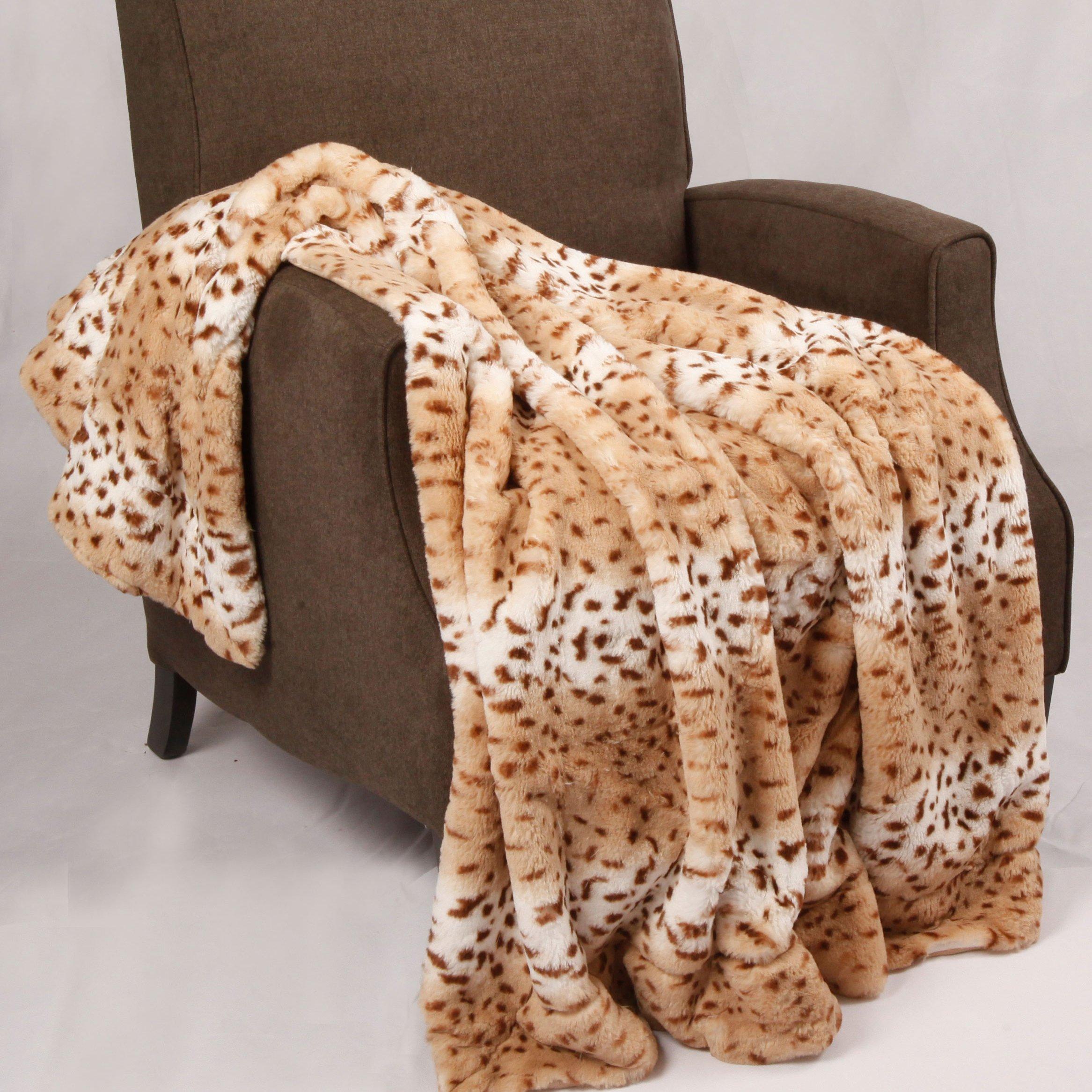 Home Soft Things BOON Animal Faux Fur Throw Blankets, 50'' x 60'', Lynx