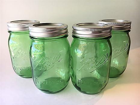 Ball Mason Jar 16 Oz. Green Glass Heritage Collection   Set Of 4