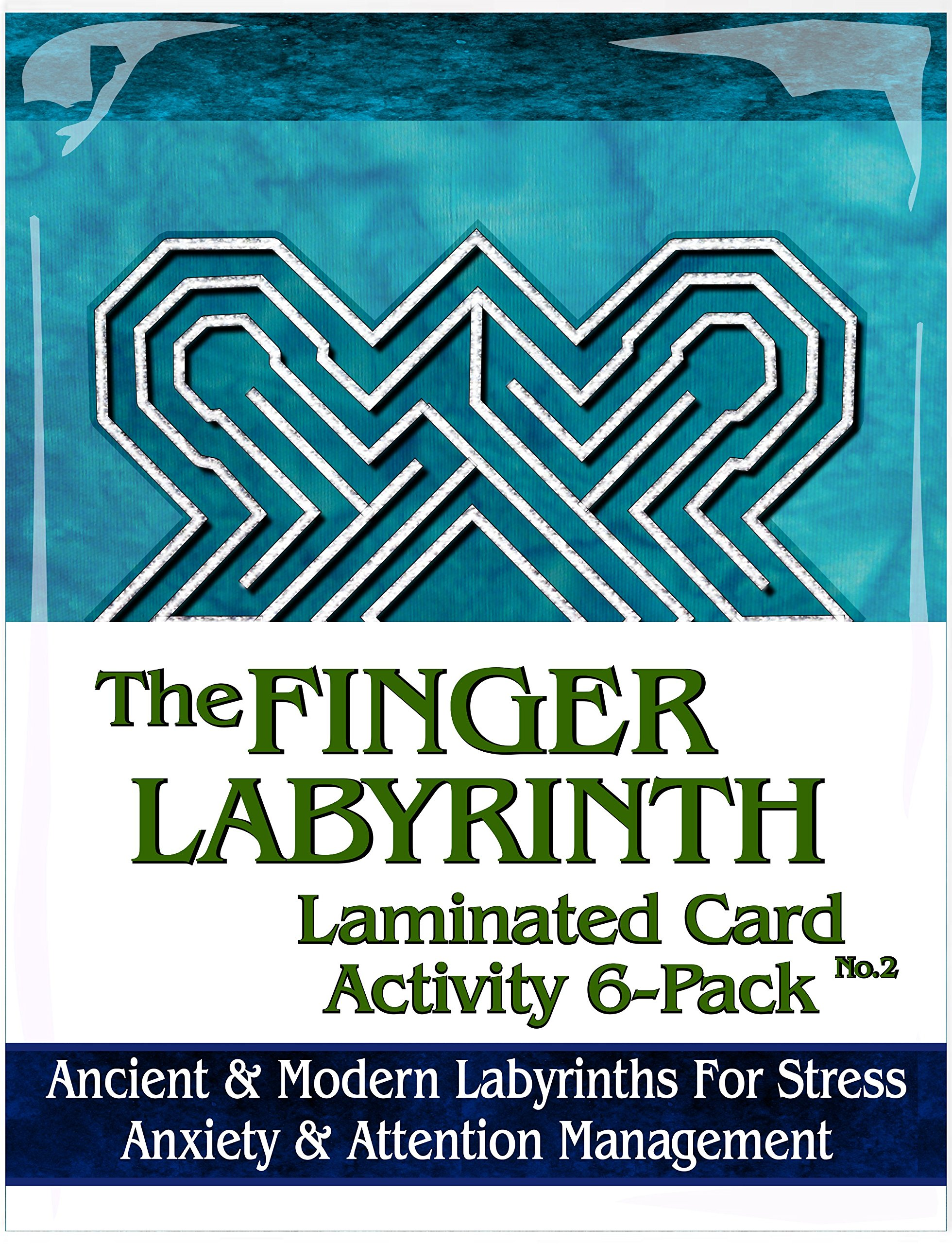 Finger Labyrinth Laminated Card 6-Pack 2: Focus Tools for Stress, Anxiety, PTSD, ADHD & Autism