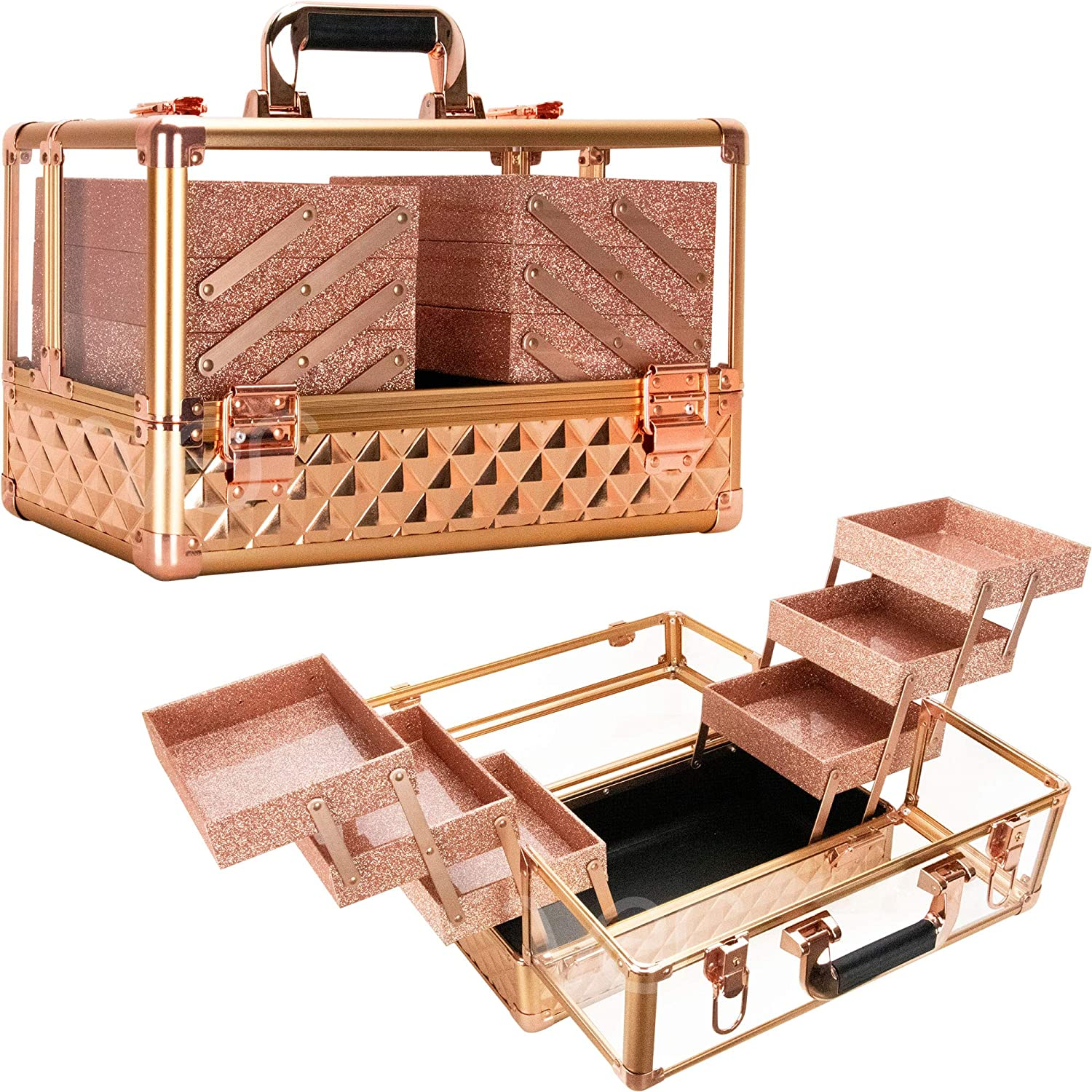 Ver Beauty 3.8mm armored acrylic makeup case jewelry portable travel organizer with 6 extendable trays clear cover micro-fiber cloth brush holders keylocks - vp016, Rose Gold Diamond