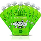 BPA Free Reusable Refillable Baby Food Pouch With Clear Back (6 Oz) - 8 Pack - Easy To Fill, Leak Proof and Dishwasher Safe