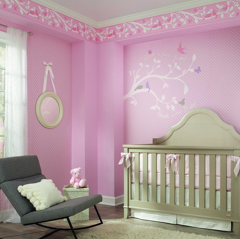 York Wallcoverings YS9229BDSMP Peek-A-Boo Garden Branch 8-Inch x 10-Inch Memo Sample Wallpaper-Borders Powder Pink//Hint Of Lavender Pink