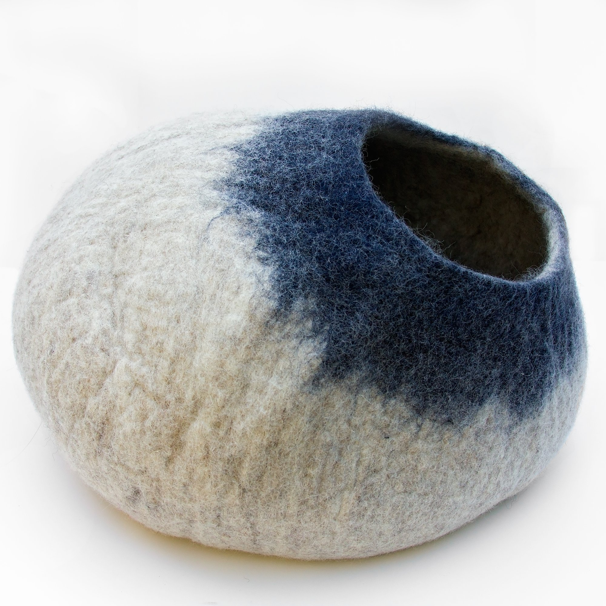Kittycentric Cozy Cat Cave Bed- Handmade 100% Felted Wool (Large, Light Grey/Midnight Blue)