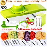 Mandoline Slicer + Peeler, Cleaning Brush and Spiralizer Veggie Slicer - Cutter for Potato, Cucumber, Onion with 5 Stainless Steel Blades - Julienne Slicer - Potato Chip Maker - Mandolin for Kitchen