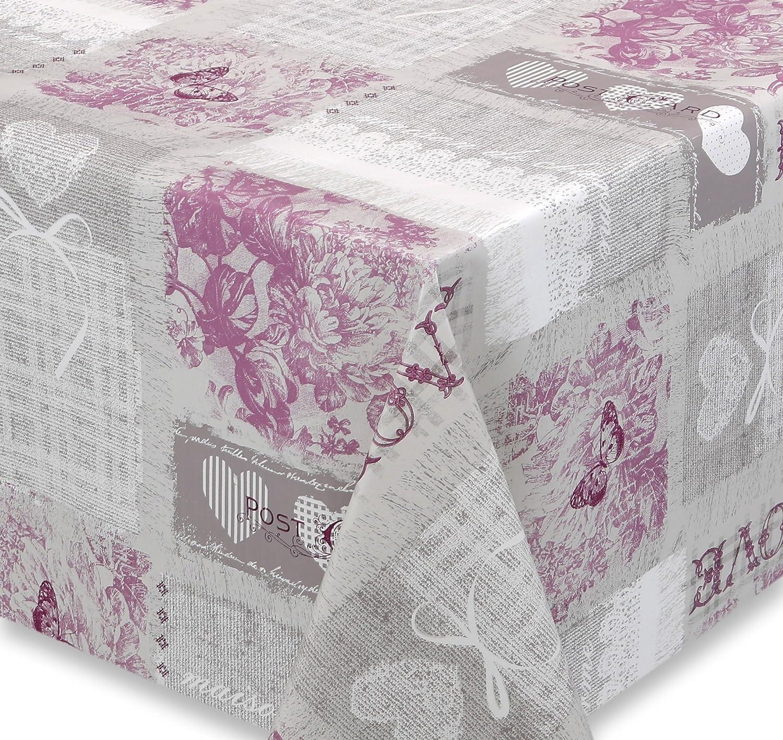 Premium Wachstuch LFGB Tischdecke für Garten und Küche, abwischbar, glatt Love Postcard Grau Lila, Größe wählbar (380 x 140 cm) B01FK7MBTA Tischdecken