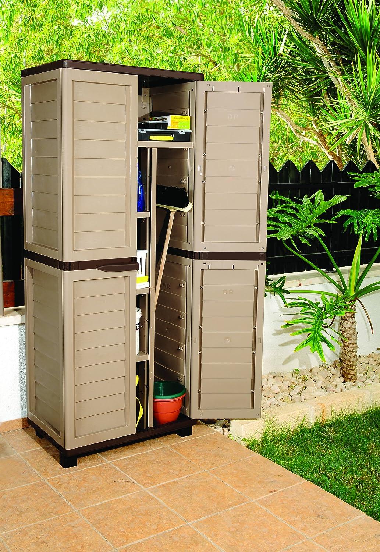 Proqom 6ft Mocha Plastic Garden Storage Utility Shed Cabinet with shelves