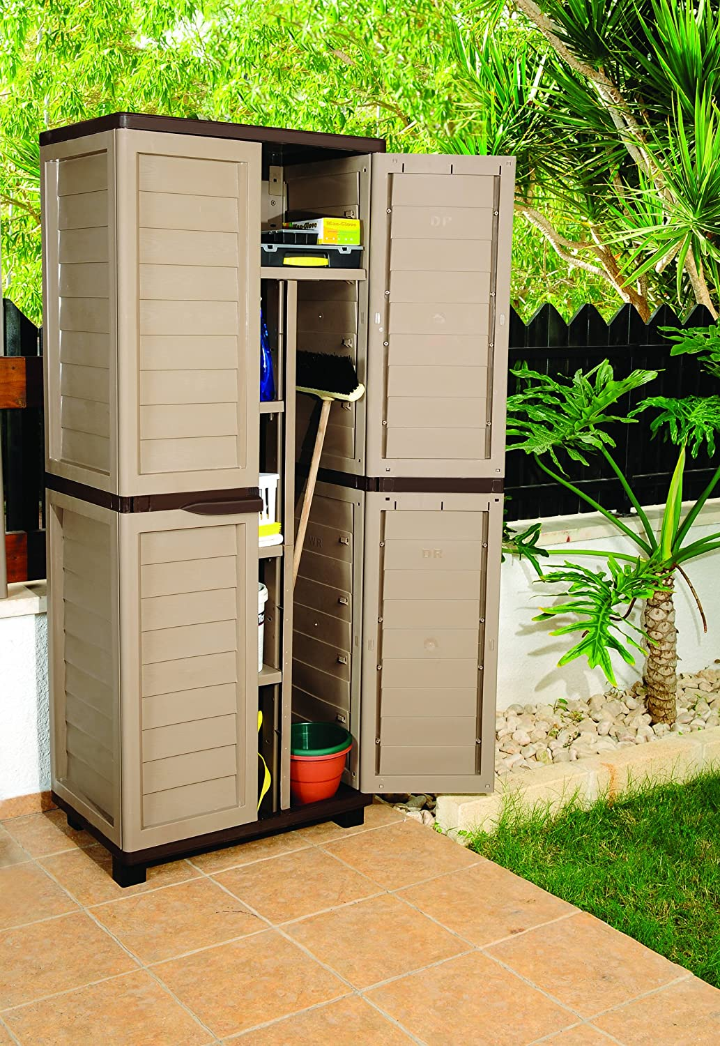 6ft Mocha Plastic Garden Storage Utility Shed Cabinet With Shelves:  Amazon.co.uk: Garden U0026 Outdoors