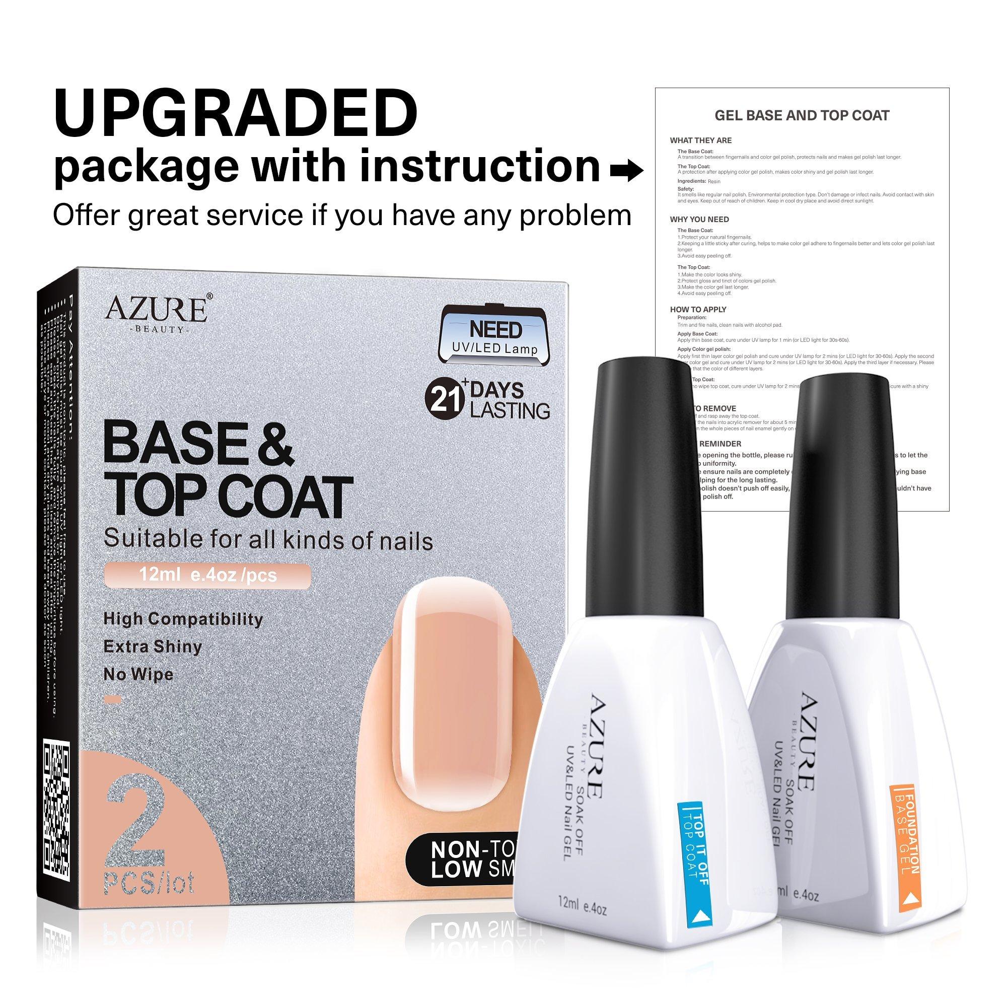Base Coat No Wipe Top Coat Set for UV LED Gel Nail Polish LED Nail Lamp 0.4 Ounce Big Capacity by AZUREBEAUTY by AZUREBEAUTY (Image #4)
