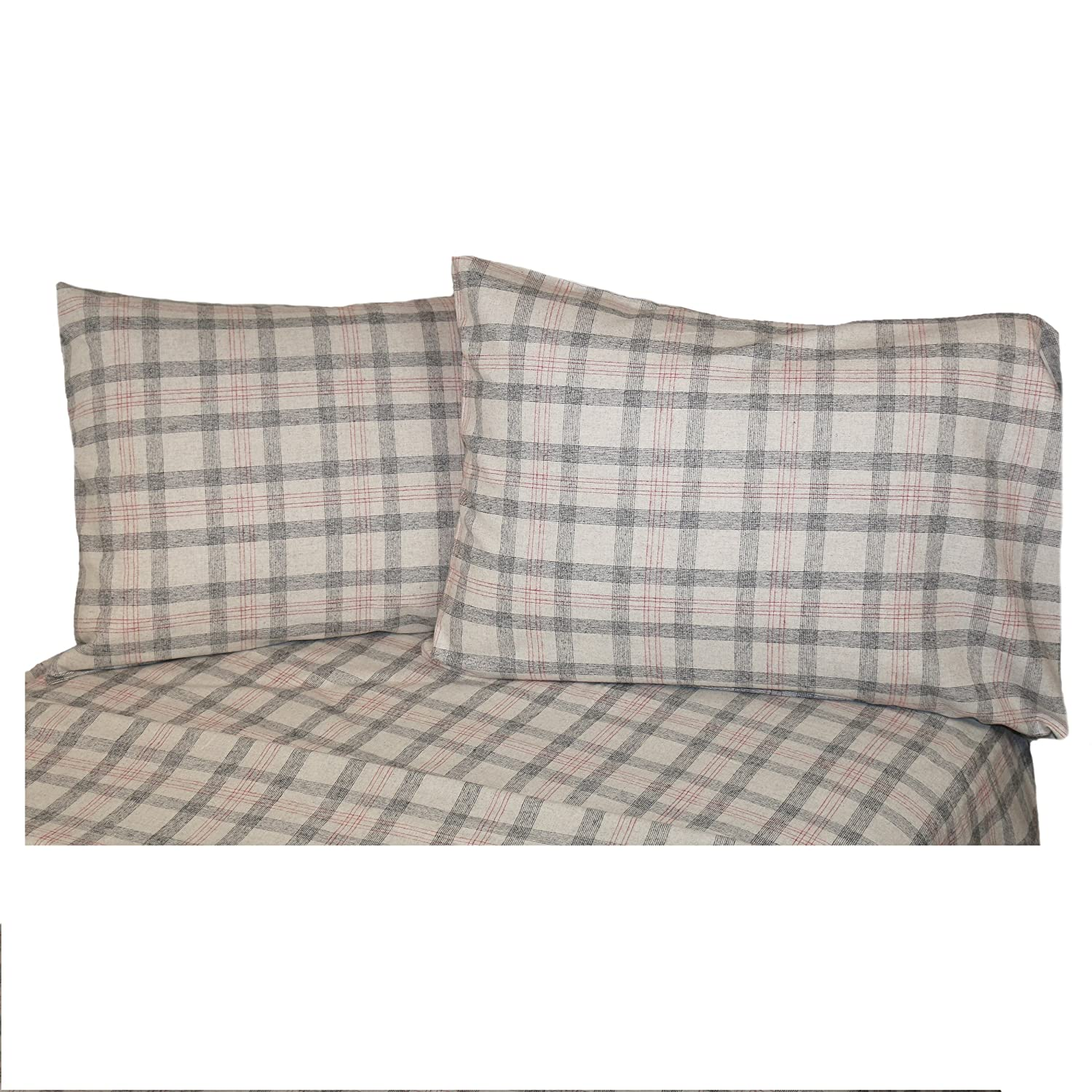 La Rochelle 10681 Heathered Plaid Flannel Sheet Set, Full, Gray/Red Check
