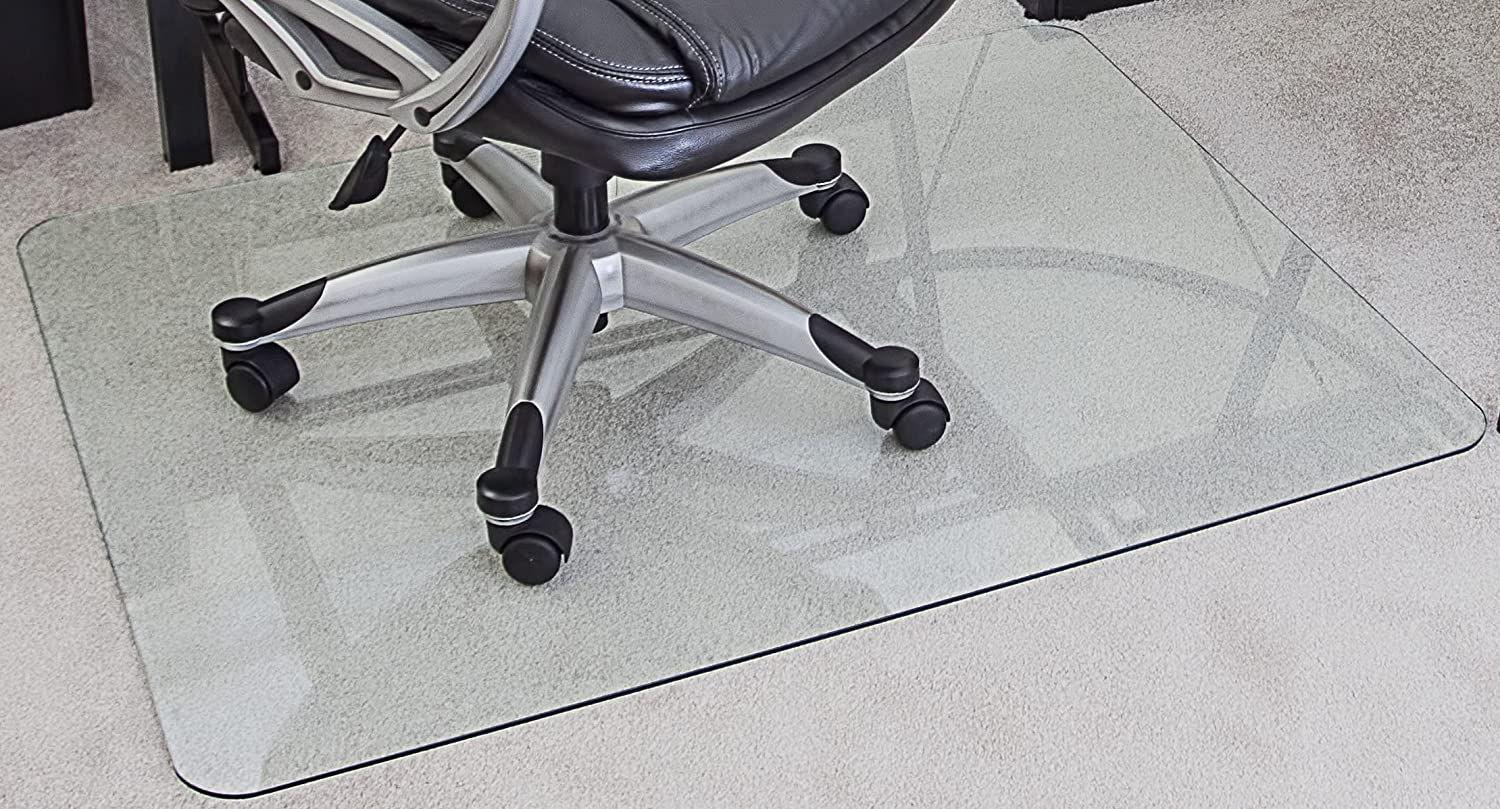 floor mat for desk chair. amazon.com : myglassmat 36 x 48-inch tempered glass chair mat for carpet and hard floors, rounded corners, smooth polished edges, 1/4-inch thick, floor desk d