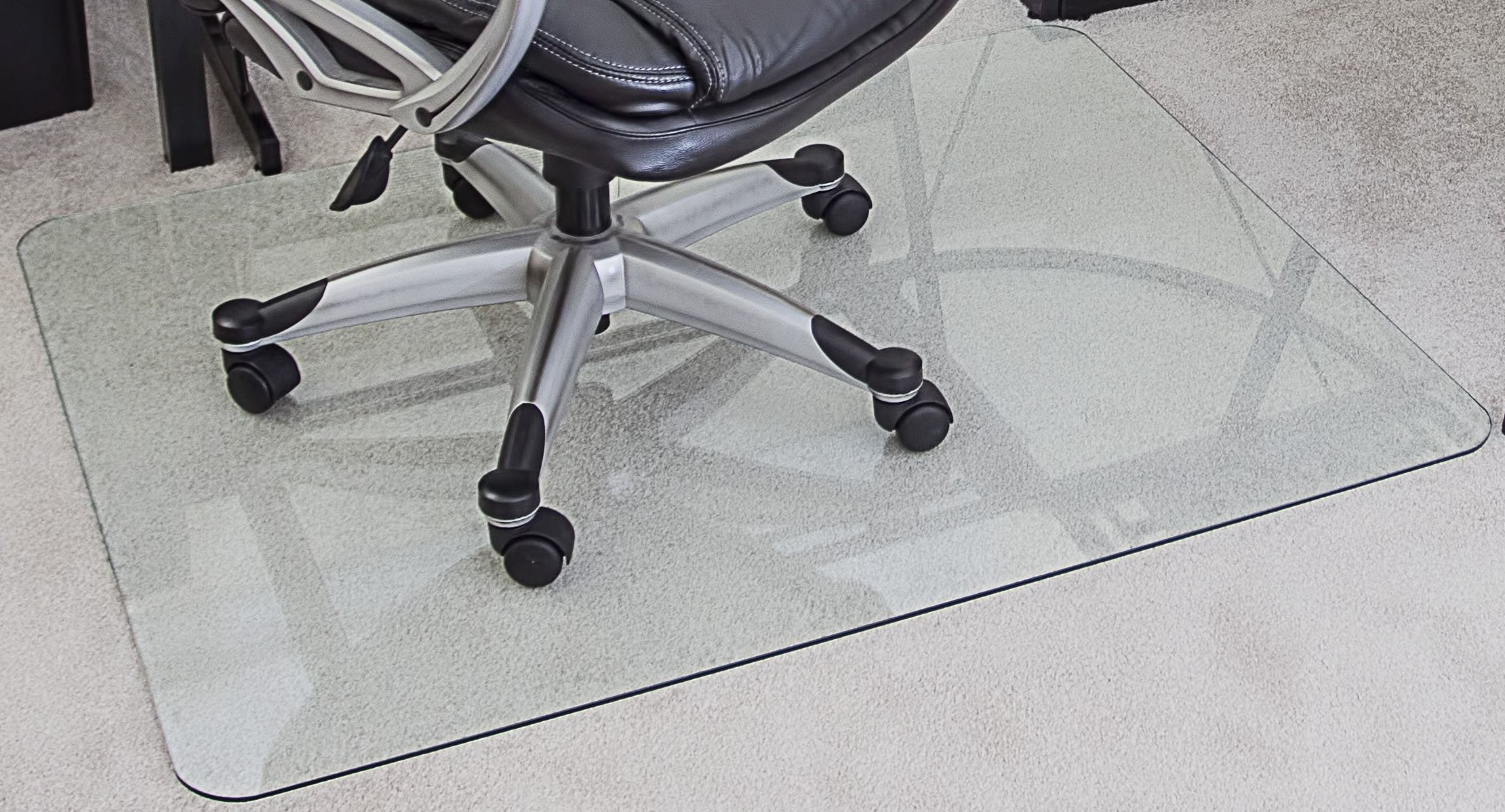 myGlassMat 36 X 48-Inch Tempered Glass Chair Mat for Carpet and Hard Floors, Rounded Corners, Smooth Polished Edges, 1/4-Inch Thick, Clear Glass (gcm36x48) by myGlassMat