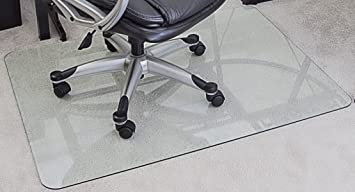 MyGlassMat 36 X 48 Inch Tempered Glass Chair Mat For Carpet And Hard Floors,