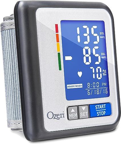 Monitor de presión sanguínea recargable Ozeri CardioTech Travel Serie BP6T con indicador de hipertensión