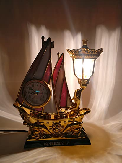 Buy funkytradition pink golden flag vintage pirates ship table lamp funkytradition pink golden flag vintage pirates ship table lamp with alarm clock for christmas anniversary aloadofball