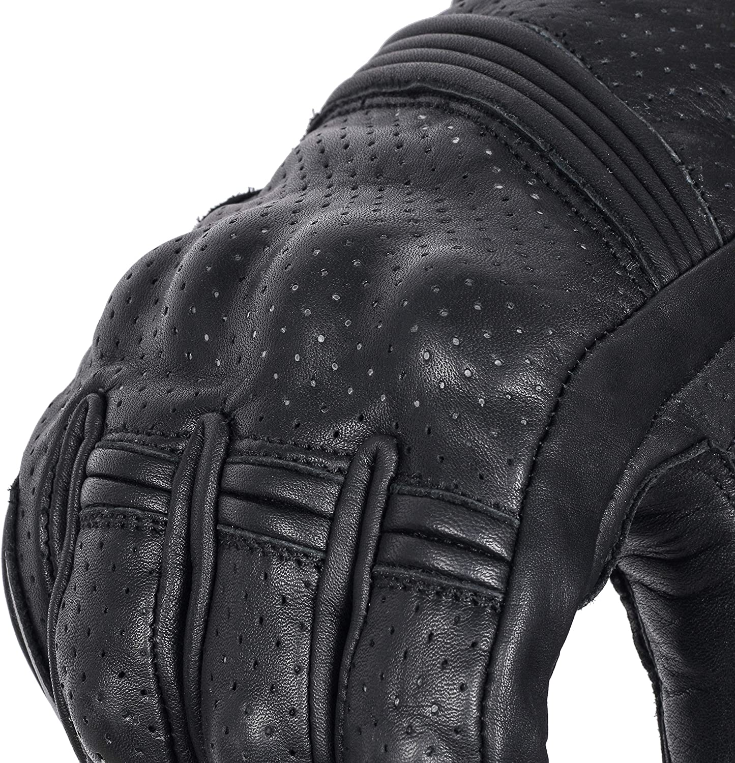 Mobile Touchscreen Full Finger Gloves for Cycling Motorbike ATV Bike Camping Climbing Hiking Work Outdoor Sports Perforated Men Gloves Black, L Premium Cowhide Leather Motorcycle Gloves Black