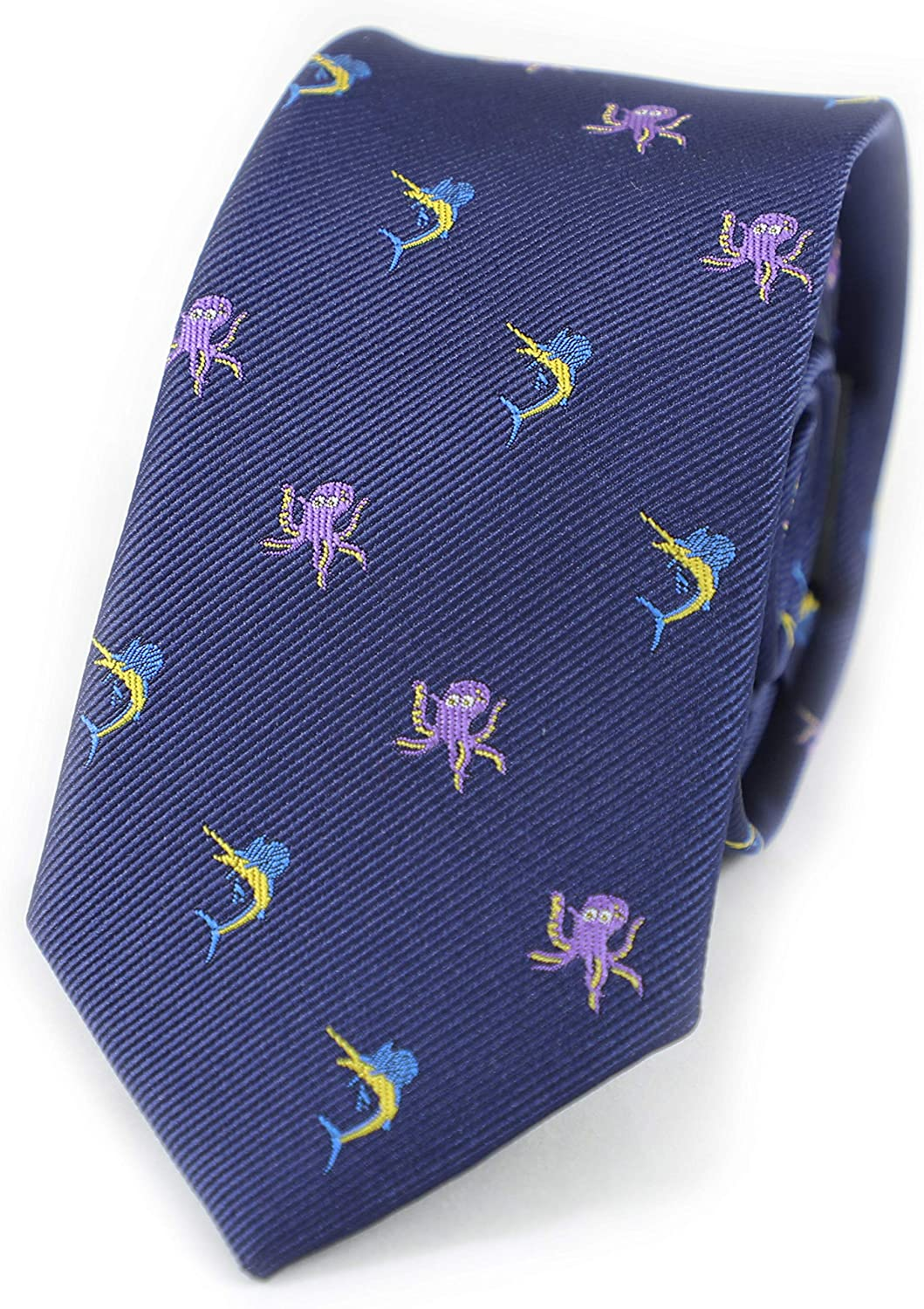 MENDEPOT Sailfish And Octopus Tie With Box Sea Animal Marlin And Octopus Navy Necktie
