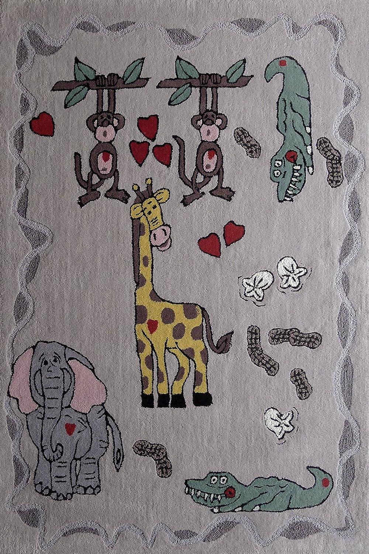 Amazon.com: RUGADDICTION Hermosa Alfombra Para ninos color Verde Diseno Zoologico hecha a mano estilo moderno lujosa, 47.3