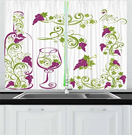 Ambesonne Wine Kitchen Curtains Bottle And Glass Grapevines Lettering With Swirled Branches Lines