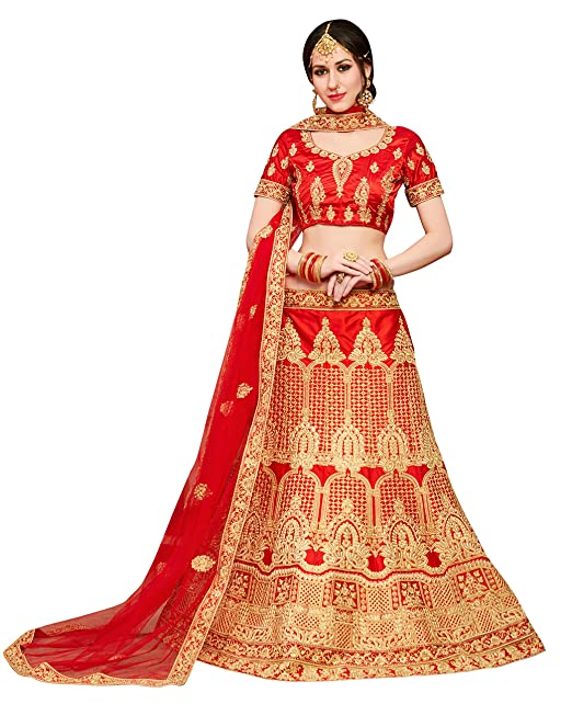 b3be52ae30e Maroosh Silk Women S Embroidered Lehenga Choli In Red Color  Amazon.in   Clothing   Accessories