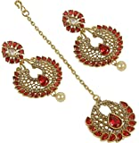 MUCH MORE Gold Plated Crystal made Polki Earring With Maang Tikka Women