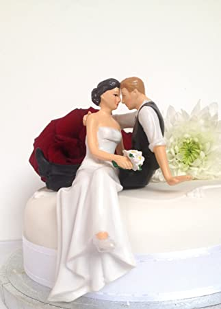 wedding cake toppers assorted colours bride and groom sitting standing wedding