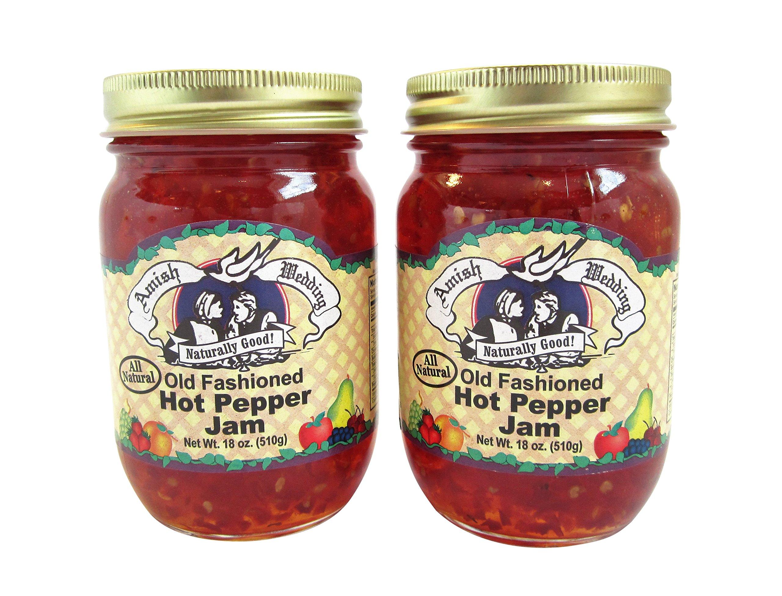 Amish Wedding Foods Old Fashioned Hot Pepper Jam All Natural 2 - 18 oz. Jars