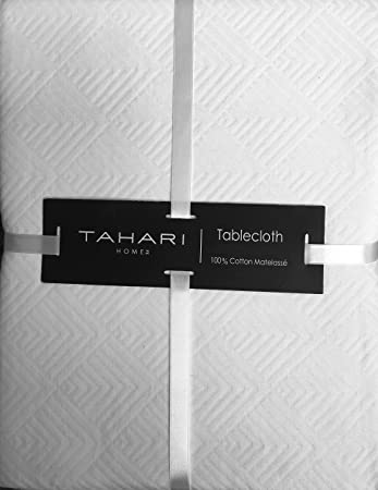 Genial Tahari Fabric Tablecloth Solid White Cotton Matelasse Textured Geometric  Diamonds Pattern 60 Inches By 102 Inches