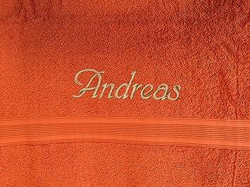 Toalla con nombre bordado, 30 x 50 cm, varios colores, Super Premium de calidad, 100% algodón de 500 g/m² naranja: Amazon.es: Hogar