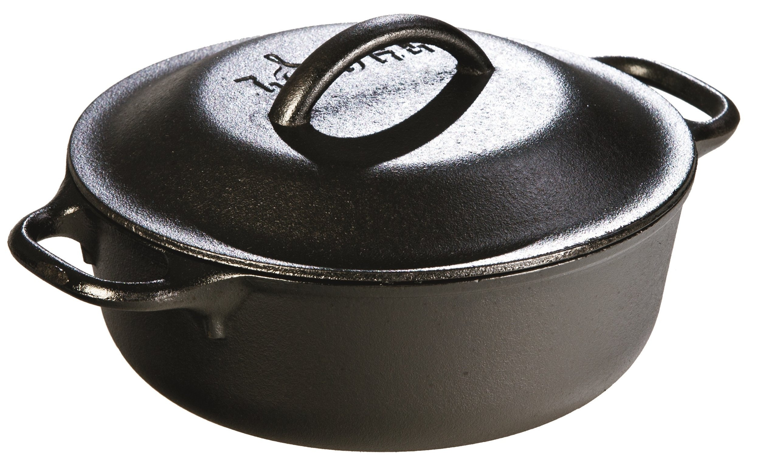 Lodge 2 Quart Cast Iron Dutch Oven. Pre-seasoned Pot with Lid for Cooking, Basting, or Baking