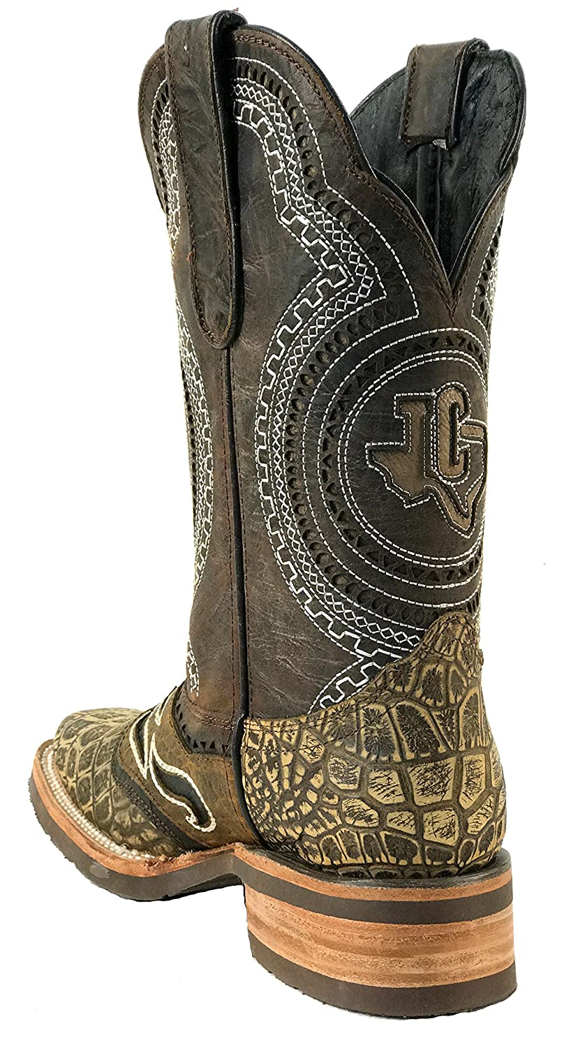 Mens New Durable Leather Crocodile Belly Cowboy Western Rodeo Work Boots Rustic Sand