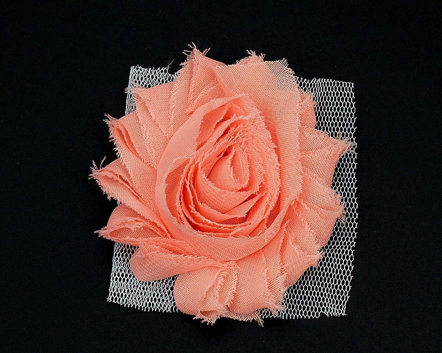 JLIKA 50 Pieces Shabby Flowers - Chiffon Fabric Roses - 2.5 - Solids and Prints Included - Assorted Color Mix - Single Flowers Grab Bag