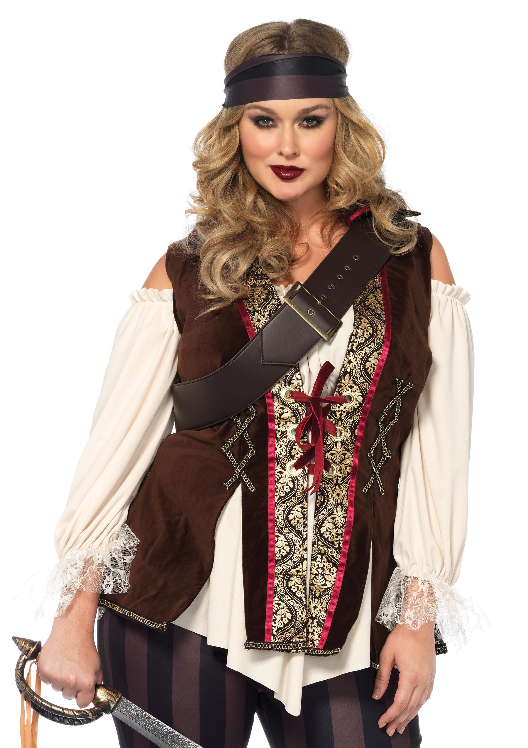 Leg Avenue Women's Plus Size Captain Blackheart Costume, Multi, 1X-2X