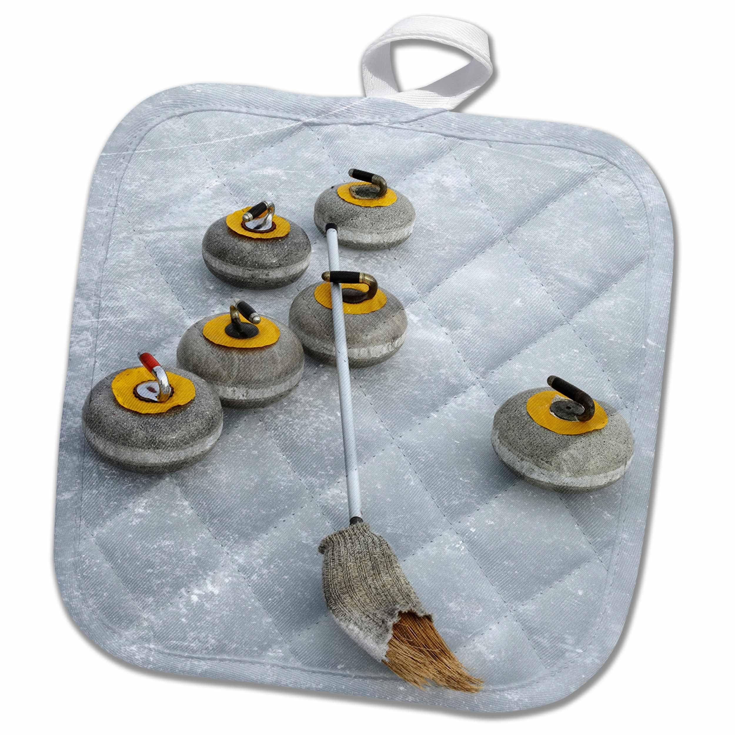 3D Rose Curling Stones-Idaburn Dam-South Island-New Zealand-Au02 Dwa4682-David Wall Pot Holder, 8'' x 8''